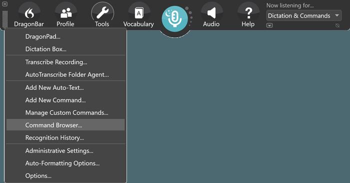 Dragon ToolBar selecting the Command Browser option