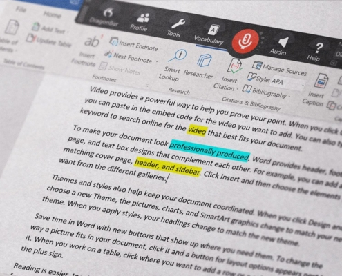 Popular Dragon Professional NaturallySpeaking built-in commands for MS Word