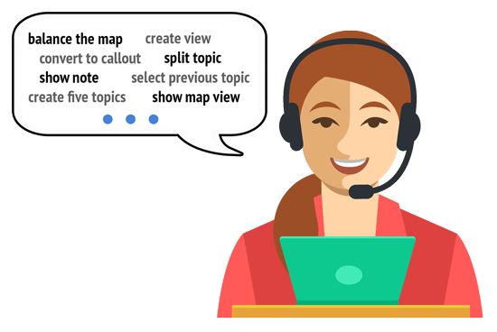 Example bespoke Dragon commands for Mindjet MindManager assistive technology software