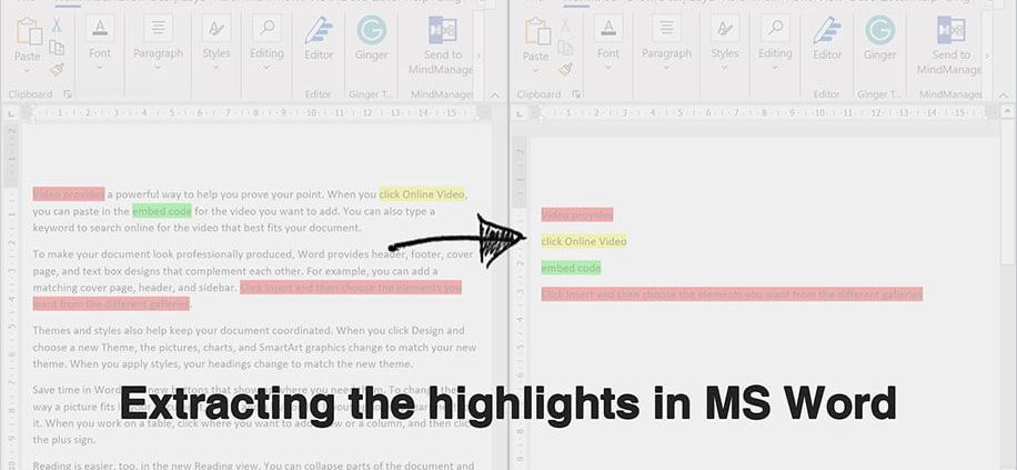 highlighting and extracting highlighted text in ms word