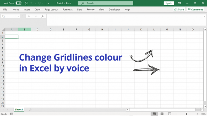 Changing the colour of ms excel worksheet gridlines
