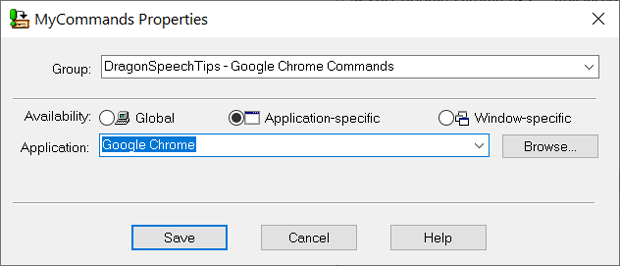 The MyCommands Properties window with the Application-Specific availability option selected