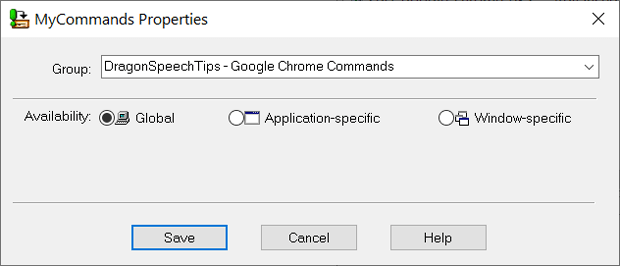 The MyCommands Properties window with the Global availability option selected