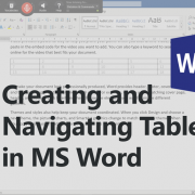 Creating and navigating tables in MS Word